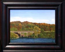 "Bridge Over Coon Creek, Where It Joins the Lake (Branson, MO), 2013, acrylic, canvas on plywood, f.s. 13 1/2 x 16 1/2"" / i.s. 9 x 12"""