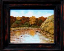 "Indian Summer at River Bend, 2013, acrylic on canvas panel, f.s. 12 x 14"" / i.s. 8 x 10"""