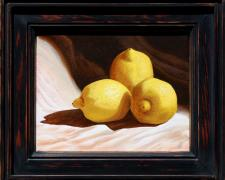 "Three Lemons (The Great Escape), 2013, acrylic on stretched canvas, f.s. 12 x 14"" / i.s. 8 x 10"""