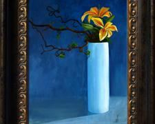 "Lillies, 2011, acrylic on canvas panel, f.s. 19 1/4 x 16 1/4"" / i.s. 14 x 11"""