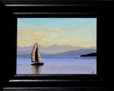 "Sailing, 2012, acrylic on canvas panel, f.s. 13 1/2 x 16 1/2"" / i.s. 9 x 12"""