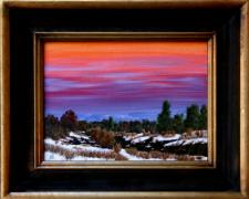 "Southwest Winter Evening, 2011, acrylic on canvas panel, f.s. 14 1/2 x 17 1/2"" / i.s. 9 x 12"""