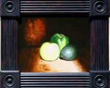 "Three Green Amigos (Green-Gos), 2013, acrylic on stretched canvas, f.s. 17 1/2 x 20 1/2"" / i.s. 12 x 16"""