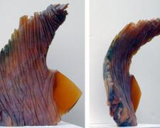 Amber Bird, 2005, cast and cut glass, fused steel, 14 1/2 x 10""