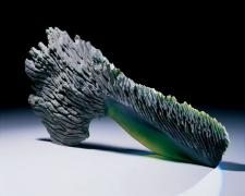"""Green Cave, 2005, cast and cut glass, fused steel, 28 x 14 x 3"""""""