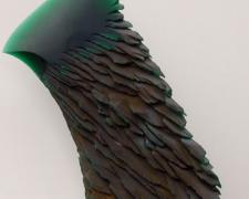 """Green Stone, 2005, cast and cut glass, fused steel, 19 x 8 x 3"""""""