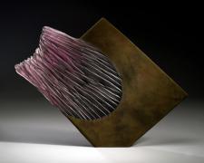 """Purple Diamond 2008 Cast and cut glass, fused steel 22 1/2 x 30 x 1 1/2"""""""