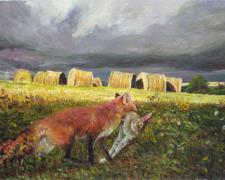 "Brer' Fox, Brer' Rabbit and Butterwood, 2009, acrylic on paper, i.s. 6 1/8 x 8 5/8"""