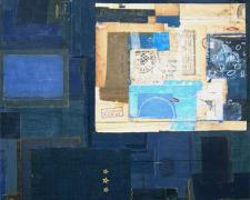 the blue in byzantium, 2008, mixed media collage, 25 x 21""