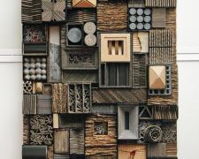 """Cartoneros #2, 2015 wood, aluminum, cardboard, paint 34 x 24 x 5"""""""