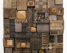 """Cartoneros #3, 2015 wood, aluminum, cardboard, paint 24 x 24 x 4"""""""