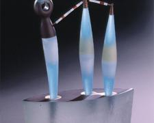 Junto, 2005, blown and hot-sculpted glass with sandcast base, 20 1/2 x 16 1/2 x 6 1/2""