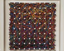 """Hey you, up above so high. Too far to more know the land. Come down, no need to be shy., 2020, various colored strings woven through wood frame with pegs, 12 x 12"""""""