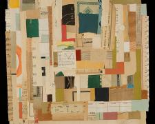 "Contiguity, 2015, vintage paper, acrylic, graphite, collage i.s. 16 1/4 x 16 1/4""/f.s. 22 3/4 x 22 3/4"""