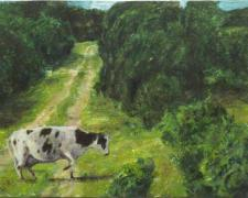 A Cow Dancing Across a Path, 2016, acrylic on panel, 4 1/2 x 9""