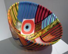 "A Brief Glance, 2009, kiln cast and drop formed mosaic glass, 8 x 12 x 12"""
