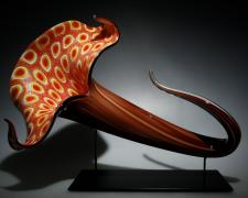 Bloom (Orange/Brown), blown, hot sculpted glass, murine, 24 x 17 x12""