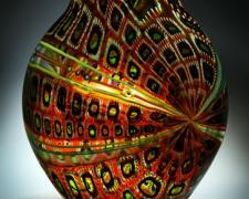 "Foglio (Tigereye) - blown glass, cane, murine - 12 x 16 x 3"""