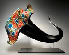 "Bloom (multicolor) - 2013 blown, hot sculpted glass, murine, matte finish 18 x 11 x 15"""