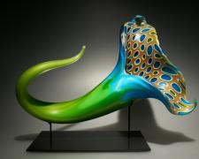 """Bloom (green/blue), 2012, blown, hot sculpted glass, murine, matte finish, 21 x 13 x 12"""""""