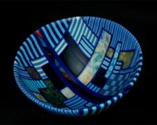 Blues in Nine Times, 2012, kiln cast, drop formed mosaic glass, 8 1/2 x 14""
