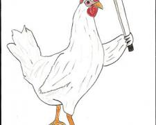 Chicken with Machete, 2009, gouache on paper, 9 x 5 3/4""