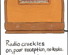 Radio Crackles, 2009, gouache on paper, 9 x 5 3/4""
