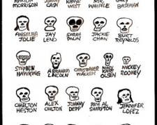 The Skulls of Famous People, 2010, gouache on paper, 9 x 5 3/4""