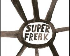 Super Freak, 2009, gouache on paper, 9 x 5 3/4""