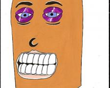 Halloween Head, 2009, gouache on paper, 9 x 5 3/4""