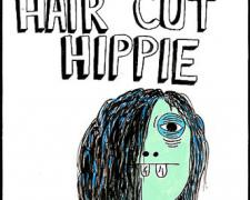 Get Your Hair Cut Hippie, 2009, gouache on paper, 9 x 5 3/4""