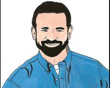 Billy Mays, 2008, gouache on paper, 9 x 5 3/4""