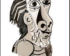 Picasso, 2009, gouache on paper, 9 x 5 3/4""