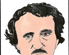 Edgar Allan Poe, 2009, gouache on paper, 9 x 5 3/4""