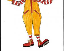 Ronald McDonald, 2009, gouache on paper, 9 x 5 3/4""