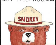 Smokey, 2010, gouache on paper, 9 x 5 3/4""
