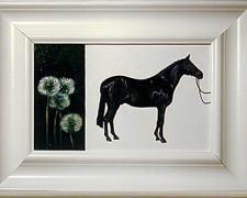 Black Horse with Dandelions 2003 Oil on panel 7 1/4 x 14 1/4""