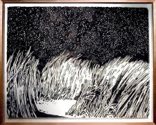 Field at Night 2004 Ink on paper, Fabriano Uno 140 22 x 30""