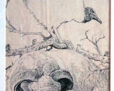 A Black Vulture Perched Upon a Devil's Walking Stick, 2008, pen and ink on paper, 11 7/8 x 6 1/2""