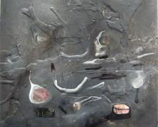 Sleight of Hand, 2009, charcoal, oil and plaster on panel, 40 x 40""