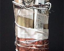 Post Hole, 2010, mixed media sculpture, 13 1/2 x 5 1/2 x 3 1/2""