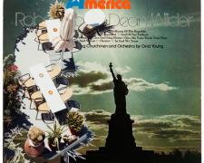 America, 2011, mixed media on vintage album cover, f.s. 18 x 18""