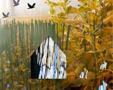 "Earthly Matters: Home, 2009, handmade photo collage on panel, 8 1/2 x 8 1/2"", ed. 1/10"