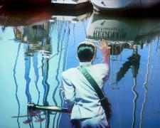 """Inspector Saito's Seaside Satori 2013 mixed media on panel 40 x 58"""""""