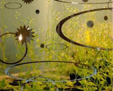 "Earthly Matters: Wetlands, 2009, handmade photo collage on panel, 8 1/2 x 8 1/2"", ed. 1/10"
