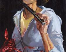 """Crawfish Piper 2006 oil on canvas 24 x 15"""""""