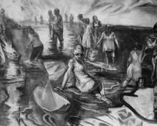 "Knee Deep Study 2014 Charcoal on paper 24 x 41"""
