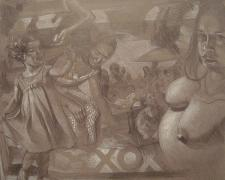 Mothers and Daughters 2013 Graphite and white pencil on toned paper 14 x 16""