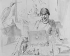 """Playing Against the Computer 2007 graphite on paper 14 x 17"""""""