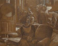 """Refuge 2013 Graphite and white pencil on toned paper 14 x 26"""""""